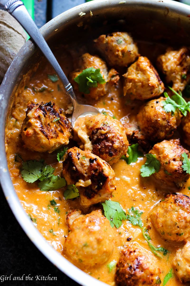 Red Curry Thai Turkey Meatballs - Girl and the Kitchen