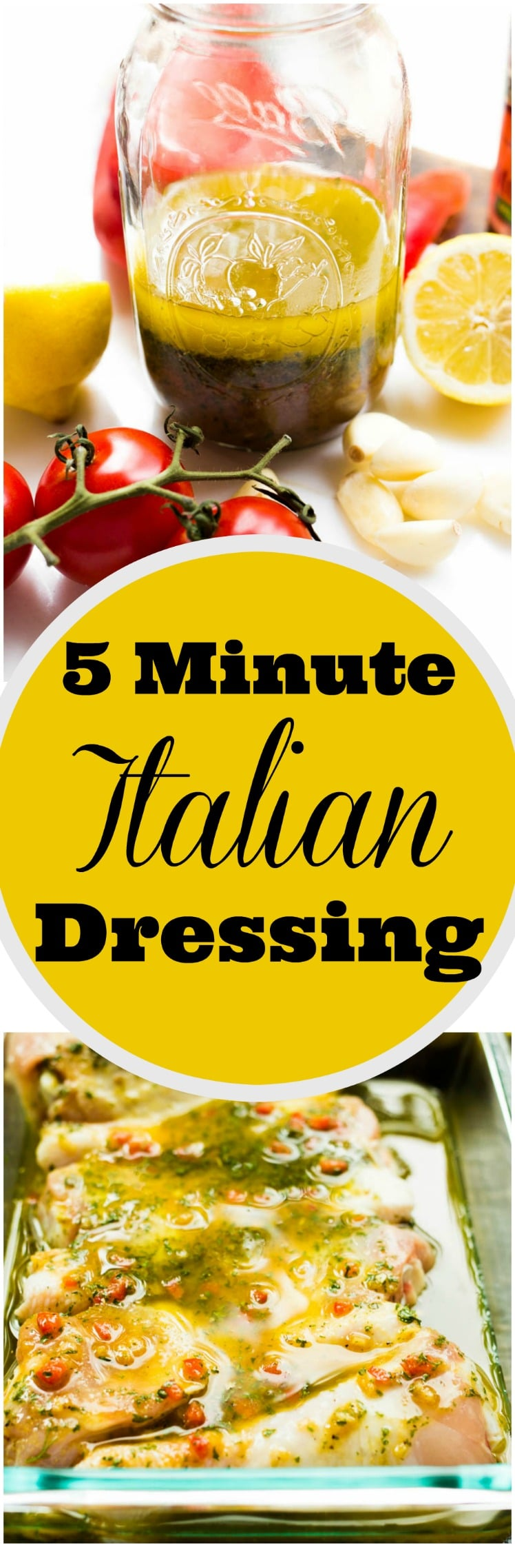 Forget the store-bought, bottled stuff! Create your own homemade Italian dressing in only 5 minutes! Preservative free and loaded with flavor! Perfect as a topper for crunchy greens or as a marinade for chicken or grilled veggies!