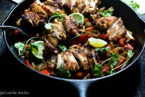 One Pot Chicken Fajitas with Chimichurri Crema