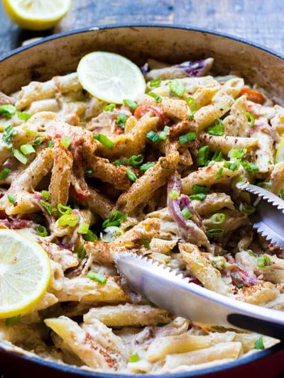 Creamy sauces have gotten a bad rep. But not this bad boy! Based off of my vegan alfredo sauce, this creamy cajun pasta is loaded with veggies and tossed with oodles of cajun spices and lemon zest. Prepare to be blown away...creamy has never tasted this healthy or this good!