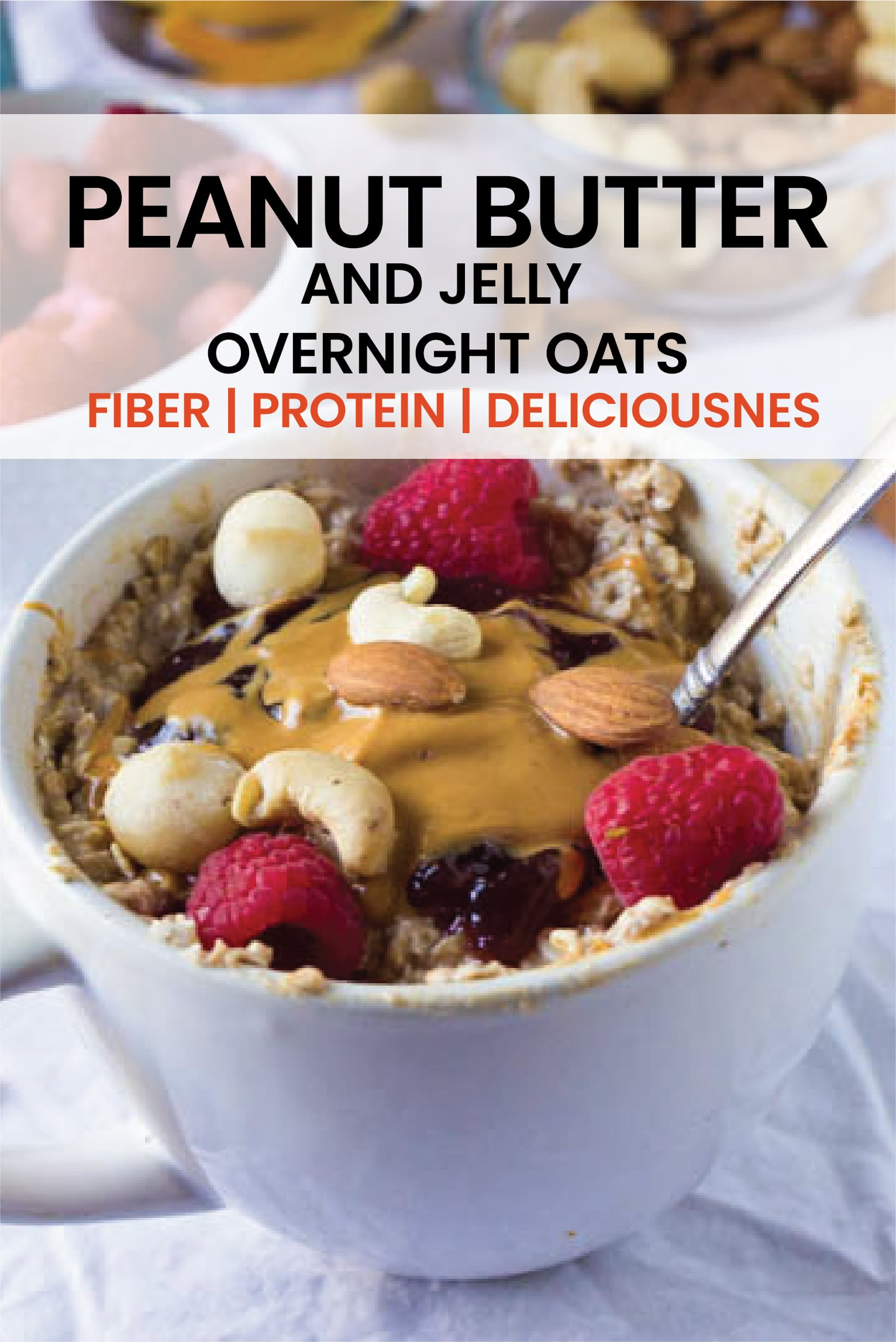 Breakfast will never be forgotten again with these Peanut Butter and Jelly overnight oats!  Full of fiber, protein and pure deliciousness, this is one breakfast that the whole family will enjoy.#overnightoats