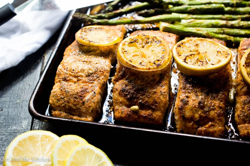 One Pan Cajun Salmon and Asparagus
