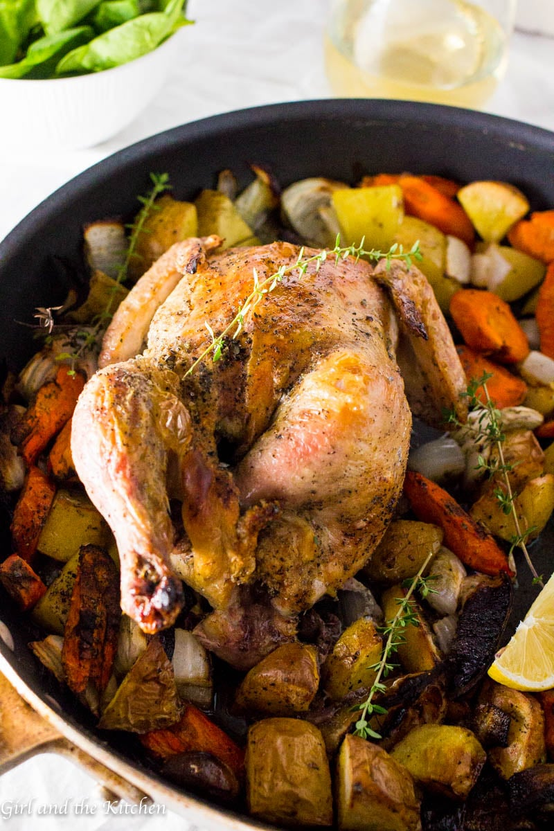Prepare for the easiest, juiciest and most delicious tasting roast chicken you have ever laid eyes on. This classic Thomas Keller roast chicken recipe is based off 3 ingredients and one pan! Chicken was never this simple or this perfect!