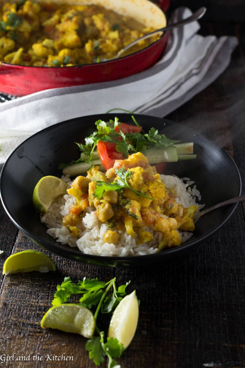 Huge flavor does not always need hours and hours of time to develop. This delicious chickpea and cauliflower curry is made in one pan and has a huge pop of flavor all in under 20 minutes!