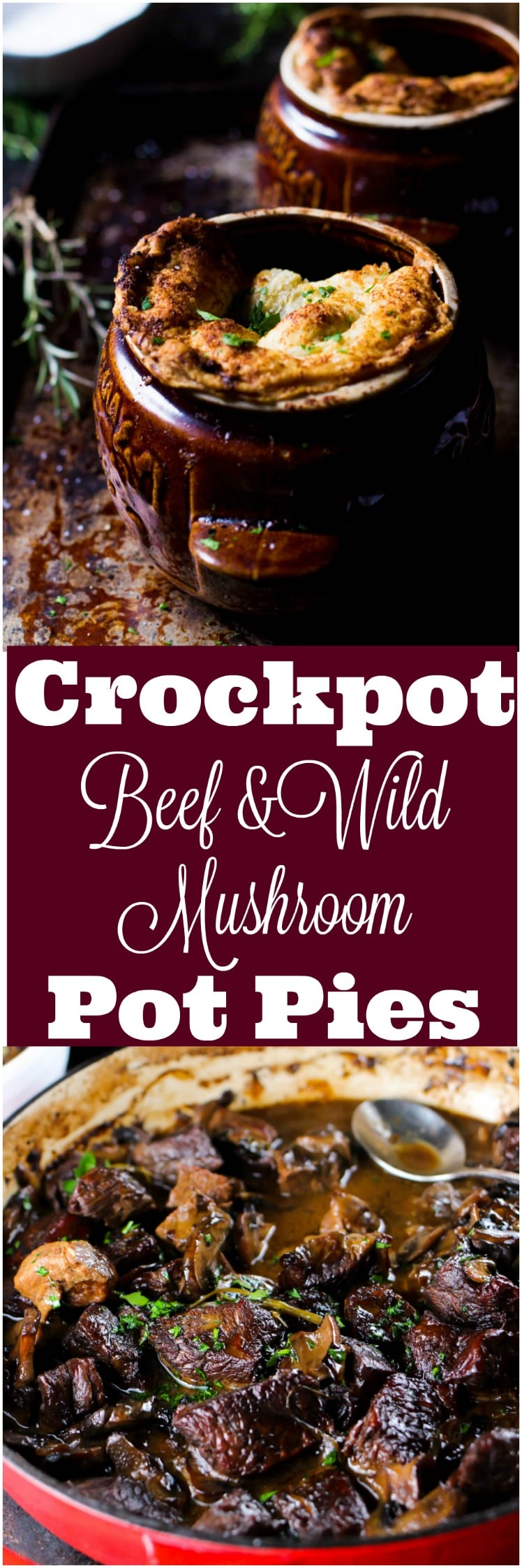 When a wild mushroom stew meets puff pastry the most incredible and scrumptious crockpot beef pot pie is born. The stew is incredibly flavorful and ridiculously simple. Cooking it in the crockpot makes this a perfect make ahead, minimal effort entree that will blow everyone at your dinner table away.
