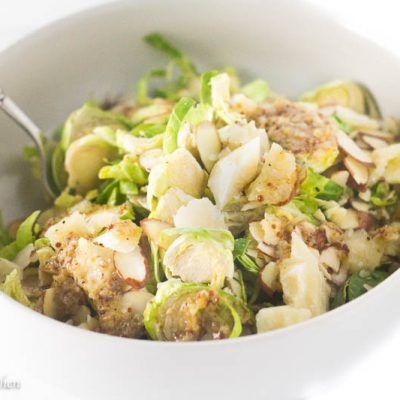 This incredible salad full of shaved brussels sprouts, crunchy almonds and salty and nutty Parmesan is anything but boring. The biggest deal closer is the ridiculously simple lemony garlic dressing that makes this taste like it came straight out of a restaurant kitchen.