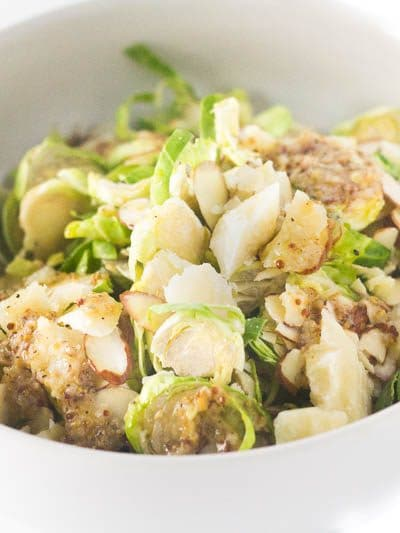 Shaved Brussels Sprouts Salad with Lemony Garlic Dressing