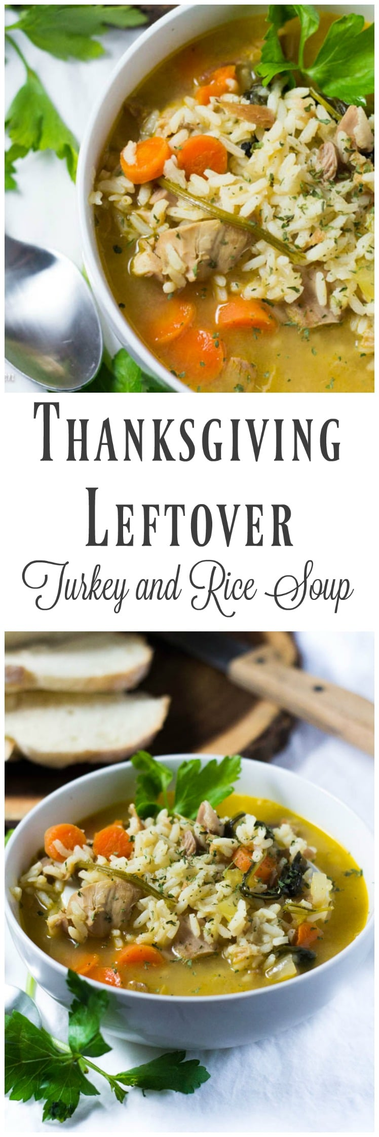 My leftover turkey and rice soup is the perfect comfort food after cooking for days for a Thanksgiving feast. Turn your Thanksgiving turkey into a super comforting and healthy soup in only 30 minutes and just a few ingredients!
