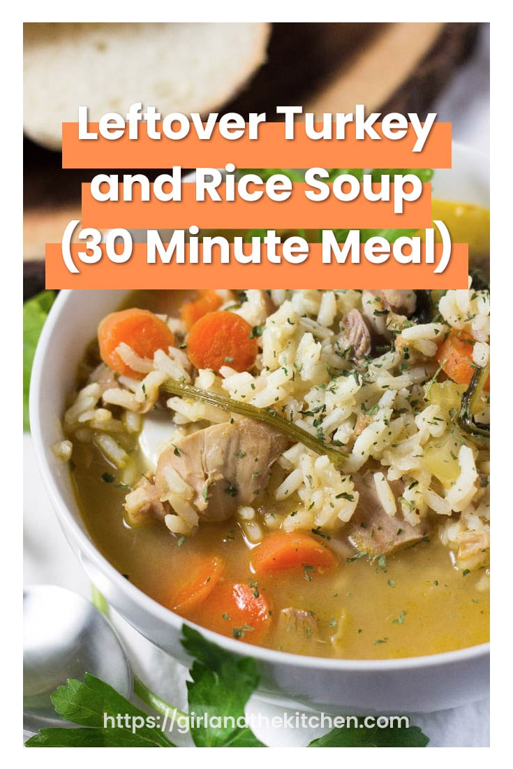 My leftover turkey and rice soup is the perfect comfort food after cooking for days for a Thanksgiving feast.