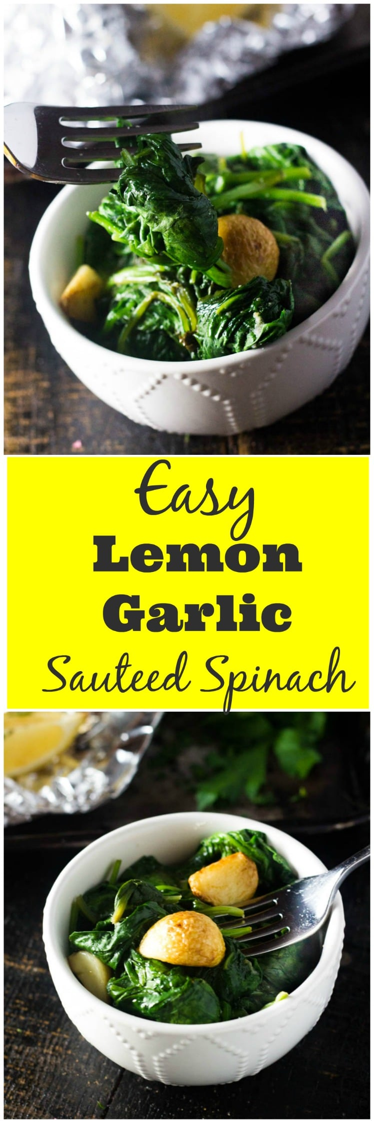 This lemon garlic sautéed spinach is the classic Italian restaurant side dish that everyone loves. This healthy side dish is loaded with garlicky flavor and light on the fat and it comes together in just 5 minutes.