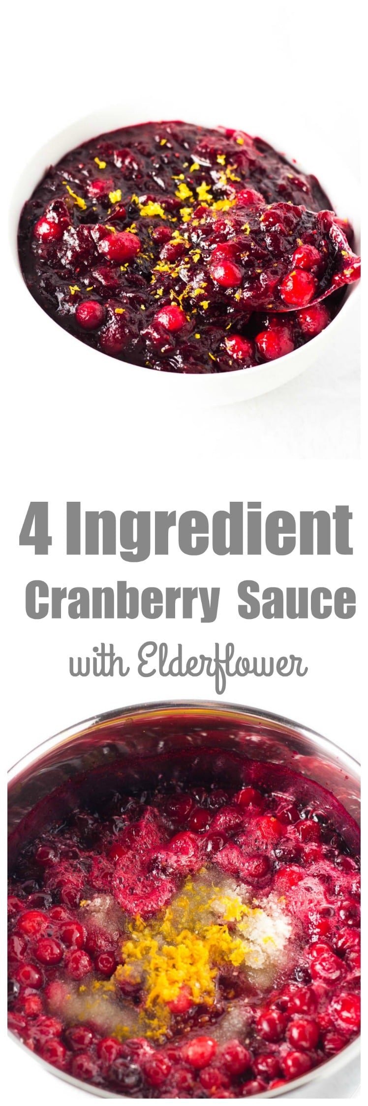 My simple cranberry sauce will only take 20 minutes but tastes like it came straight out of a gourmet French kitchen! It takes 4 ingredients and 5 minutes of prep time to have this delicious and simple cranberry sauce on your Thanksgiving table right alongside your perfect turkey!