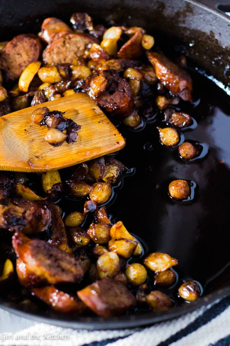 These one pan Balsamic Glazed Italian Sausage and Onions are an elegant twist on an Italian classic. Perfectly tender and gorgeously glossed this one pan meal will make you shine this holiday season! Plus, as with all great holiday must haves, these are make ahead friendly.