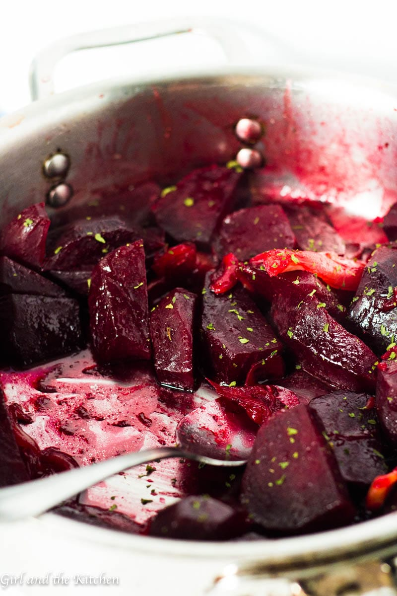 These incredibly beautiful honey glazed beets are perfect for your holiday meal plus they happen to be ridiculously easy! They are made right on the stove top so that the oven can stay free and clear for other things like gorgeous roasts and potato au gratin's!