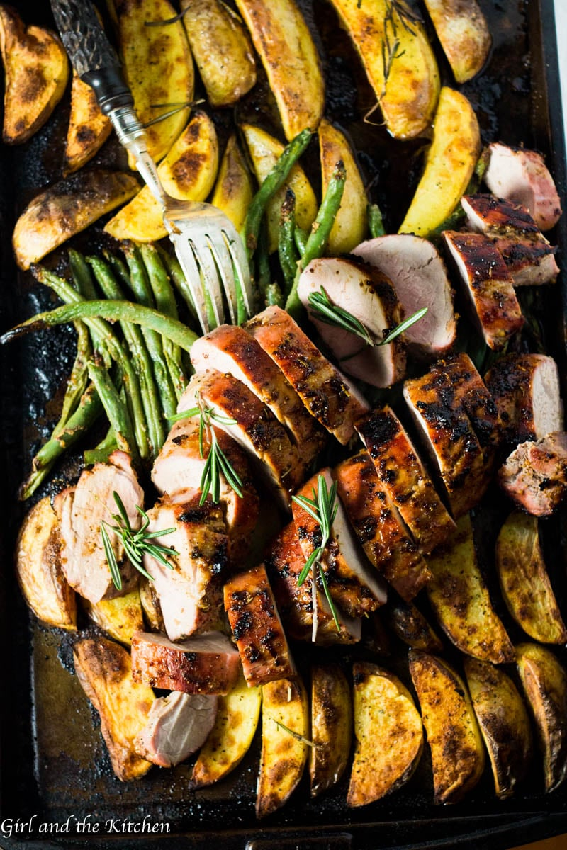 This incredibly flavorful Roasted Pork Tenderloin is absurdly simple to make and filled with mustardy and garlicky flavors! The best part is all the glorious juices from the pork act as a sauce for the veggies creating one uber flavorful one pan meal! Plus learn the ultimate trick to getting a gorgeously browned tenderloin in only 30 minutes! - 1