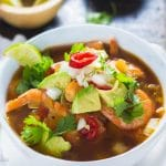 My take on this class Mexican Shrimp Soup is extremely comforting and healthy! It is filled with loads of plump shrimp and tender vegetables. Best of all I will teach you how to make it taste like it has been cooking for hours when it in only takes 45 minutes!