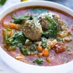 This super comforting soup is loaded with plump Italian meatballs and hearty vegetables. Made in only 30 minutes but thanks to my little secret it tastes like it has been cooking all day!