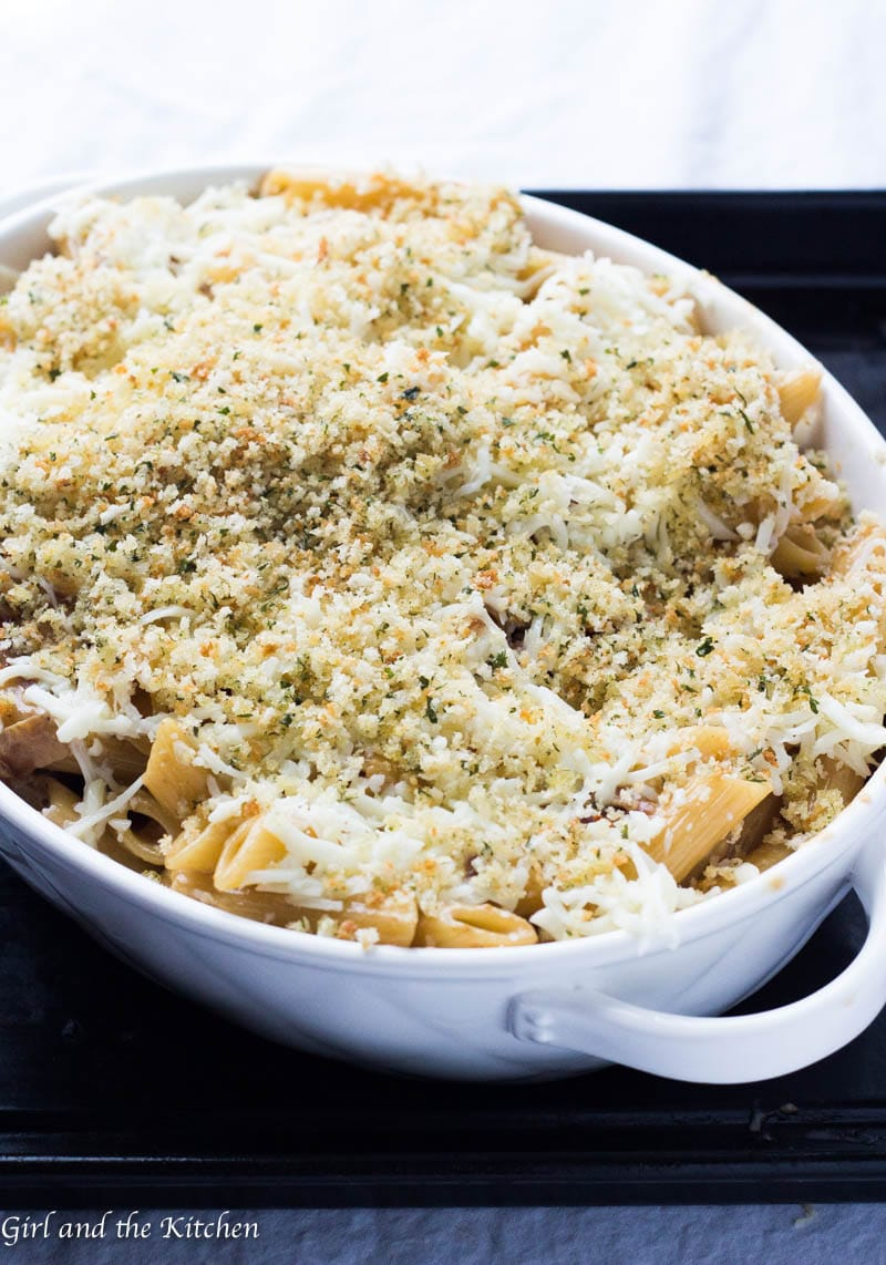 Meet the sauce of all sauces! This delicious and super creamy parmesan and sundried tomato pasta is full of savory flavors and loads of cheesy goodness. It is topped with plenty of Parmesan and bread crumbs and baked off until it is golden and cheesy perfection.