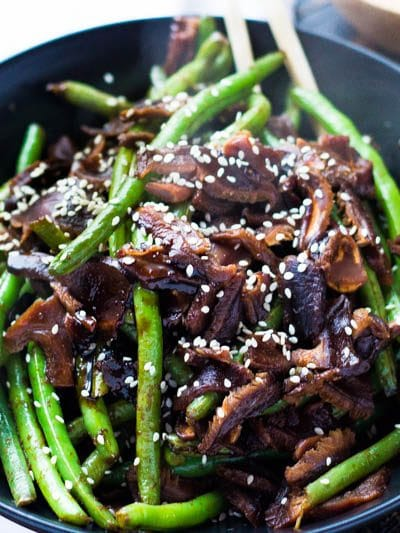 Honey Soy Glazed Green Beans with Shitake Mushrooms