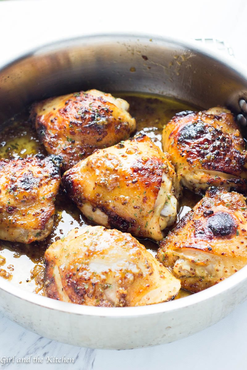 Baked Honey Mustard Chicken Thighs Girl And The Kitchen
