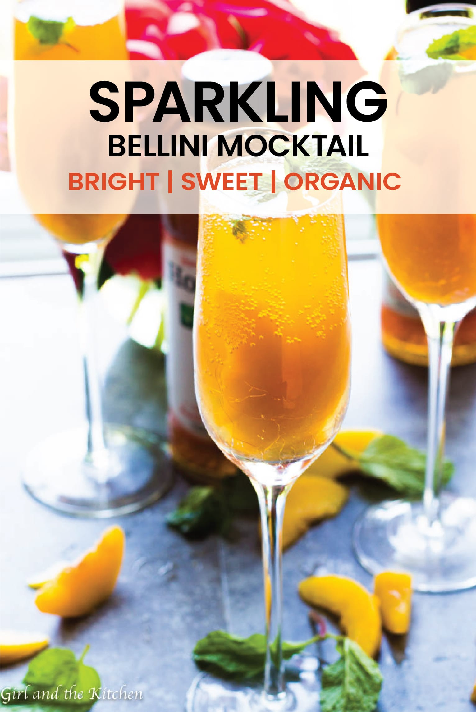 This delicious Sparkling Bellini Mocktail is not just for adults!  Full of bright peach flavors from the deliciousness of Organic Honest® Tea and sweet peaches this mocktail will please everyone at your next party! #mocktail # Bright #organic