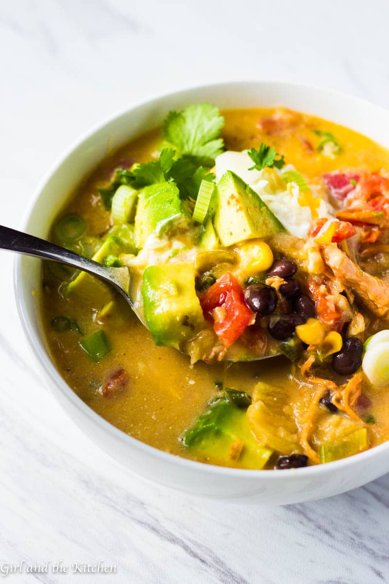 This 20 Minute Creamy Enchilada Soup comes together in JUST 20 minutes from start to finish.