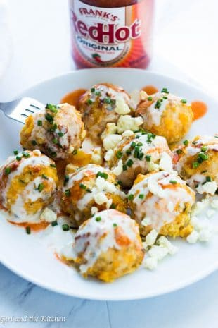 These low carb skinny buffalo chicken meatballs are a healthier twist on the beloved bar favorite! Full of flavor and low on carbs they are the perfect meal!