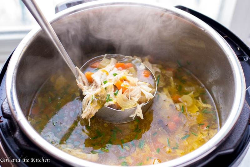 Learn how to make instant pot chicken soup with this delicious guide!  The recipe is absurdly simple yet  filled with loads of hearty flavor all with the added bonus of a one pit meal!