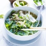 This Instant Pot Pho is agame changer! Full of authentic flavors but with half the fat and a fraction of the time it takes a classic pho to cook! Learn the secret techniques and flavors behind an authentic pho. Say hello to your new favorite chicken soup!