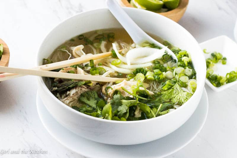 This Instant Pot Pho is a game changer!  Full of authentic flavors but with half the fat and a fraction of the time it takes a classic pho to cook!  Learn the secret techniques and flavors behind an authentic pho.  Say hello to your new favorite chicken soup!