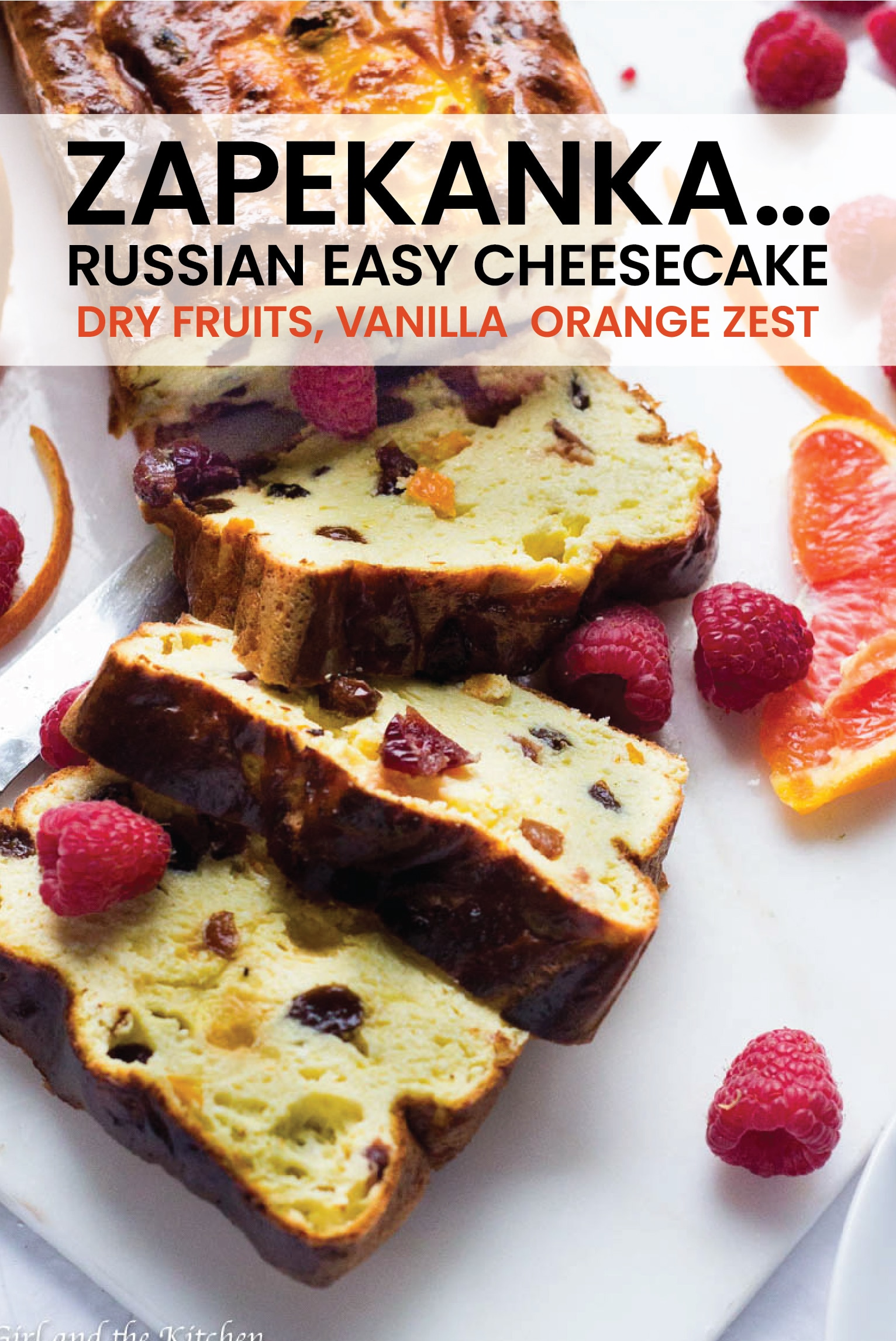A zapekanka is a super easy cheesecake that comes from Russian roots.  Speckled with dry fruits, plenty of good vanilla and some orange zest, this will be your new go to dessert when you want plenty of flavor without much effort!