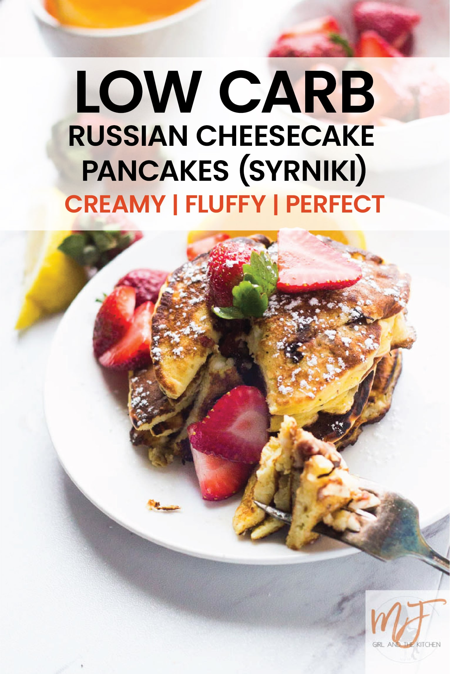 These creamy and fluffy Russian cheesecake pancakes are the perfect start to any morning!  Full of probiotics and good for you fats, these babies are the ultimate low carb treat for any child, parent or any picky eater! #lowcarb #keto #breakfast