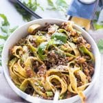 This delicious and hearty Instant Pot Bolognese cooks up in under an hour and has the complex flavors of a bolognese that has been simmering all day!  Say hello to your favorite new meat sauce!  As a bonus, learn the restaurant secret that makes all restaurant bolognese so velvety!
