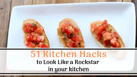 brushetta on a plate with 51 Kitchen hacks to look like a rockstar in your kitchen