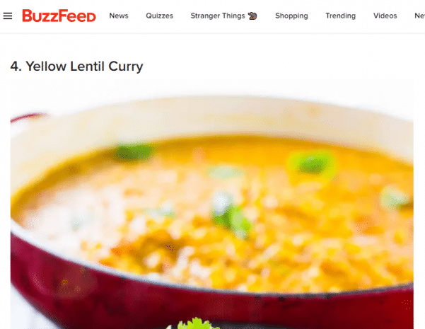 screenshot of a buzzfeed article with image of curry in a pot