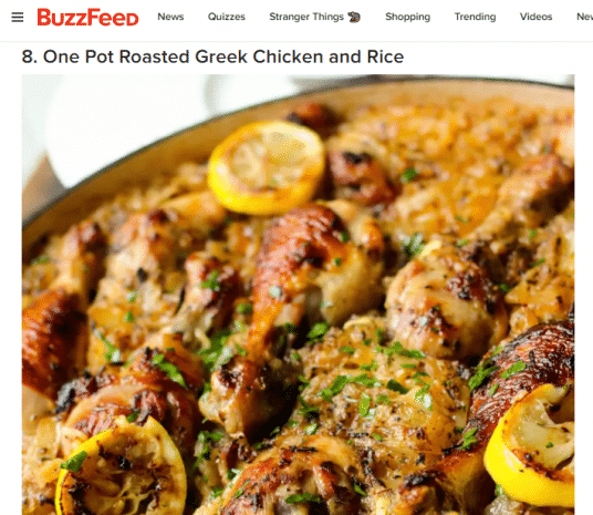 Buzzfeed screenshot with picture of one pot roasted greek chicken and rice