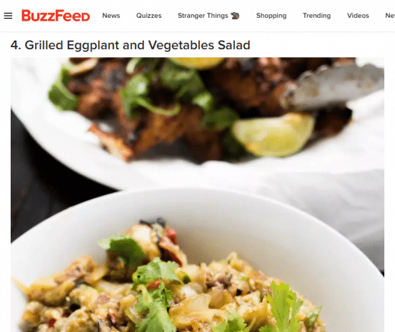 screenshot of buzzfood article about salads with grilled eggplant in a white bowl