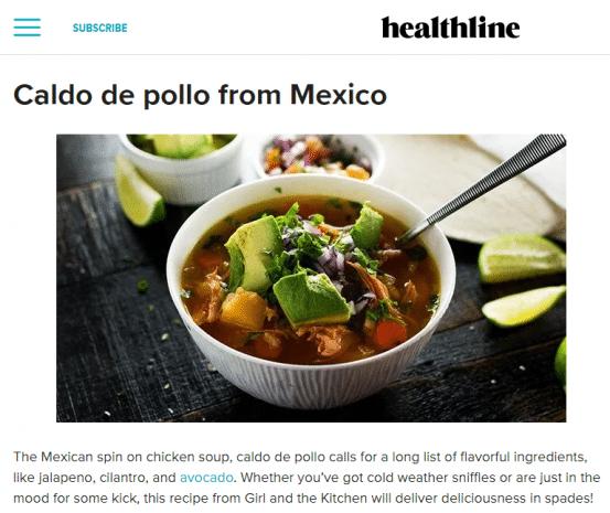 Healthline post with caldo de pollo soup in a white bowl
