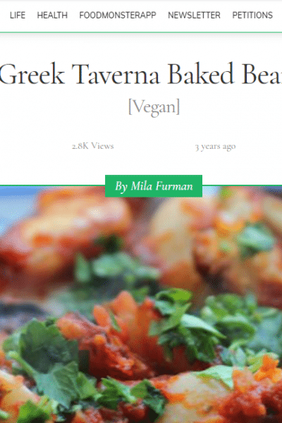 screenshot of One Green Planet Greek Taverna Baked Beans recipe and image of baked beans on a plate