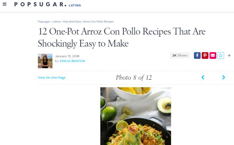 screenshot Pop-Sugar Latina and arroz con pollo recipe and picture