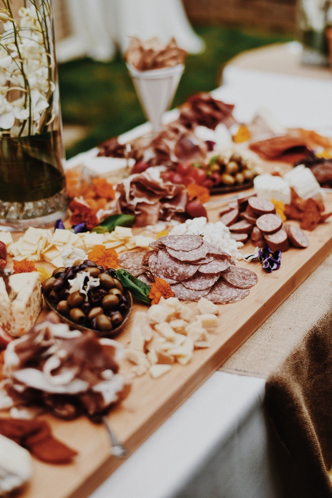 table full of food at an event