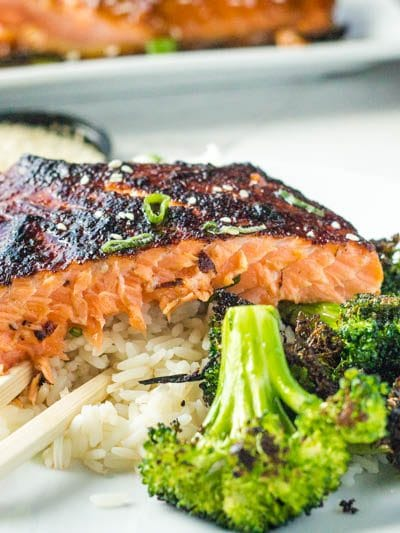 This super easy miso glazed salmon is every last minute dinner dream come true! The salmon cooks up in under 15 minutes and the miso dressing can be made ahead AND can last in your fridge for up to 3 weeks, making this the ultimate 15 minute dinner!