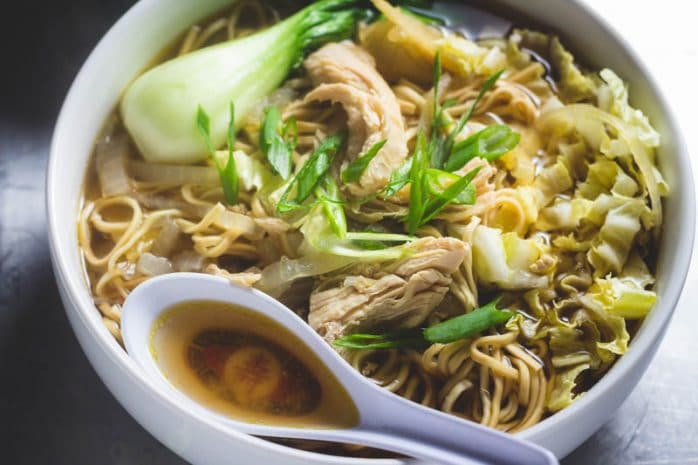 Chicken noodle soup with baby bok choy