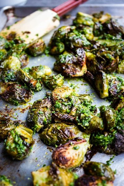 Low Carb Brussels Sprouts with Garlicky Gremolata