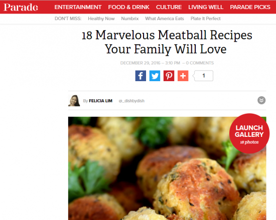 screenshot of Parade post 18 Marvelous Meatball Recipes That Your Family will Love