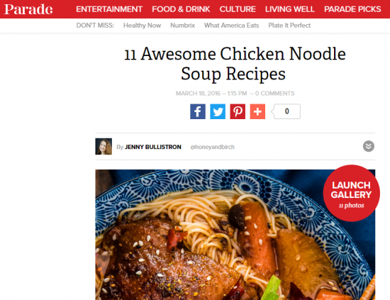 screenshot of Parade post about 11 Awesome Chicken Noodle Soup Recipes and image of soup