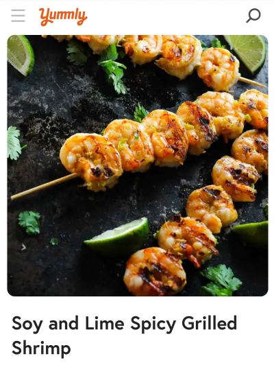 Yummly recipe with image of shrimp on a skewer